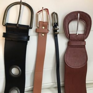 Women's Bundle of 4 Belts Brown and Black Sz large